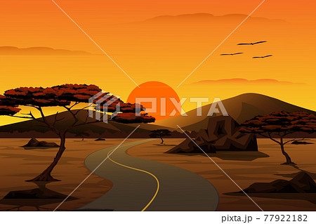 Vector cartoon illustration of the countryside landscape. The road leading to the valley at Sunset with mountain and sky in background. 77922182
