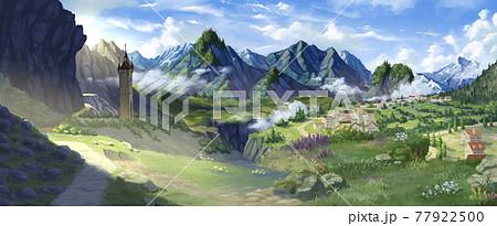 ファンタジー風景,山 77922500