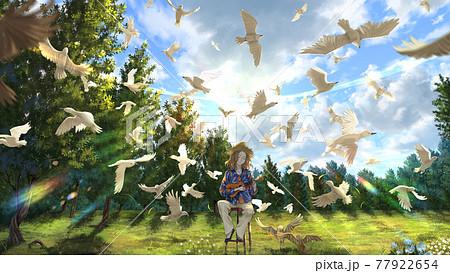 ウクレレ女子と鳥たち 77922654