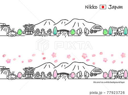 春の日光の街並みのシンプル線画セット 77923726