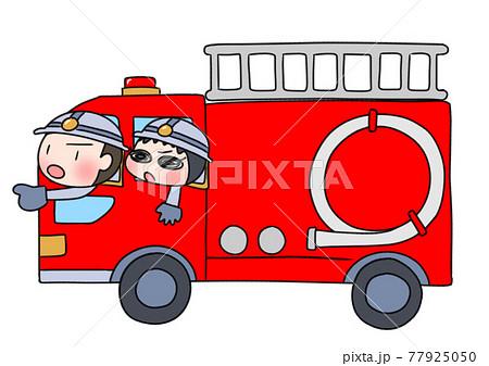 消防車に乗る子供 77925050