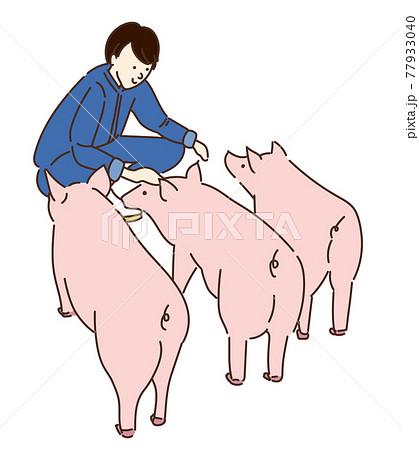 農業女子 畜産女子 養豚 女性 イラスト 77933040