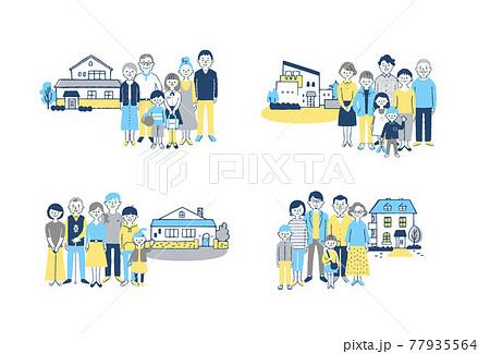 3世代家族と家 4組セット  77935564