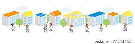 街並みと歩く人(カラフル屋根) 77941416