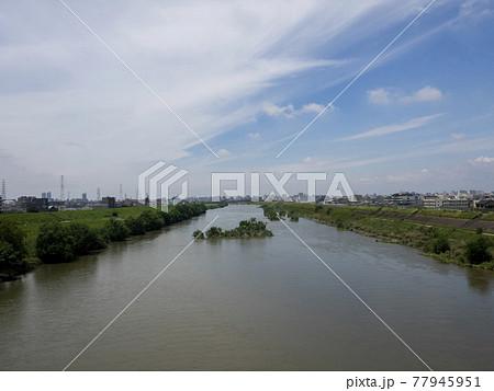 大和川に架かる瓜破大橋から見る風景 77945951