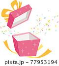 ピンクのキラキラ模様のギフトボックスを開ける。紙吹雪が箱から飛び出す。 77953194