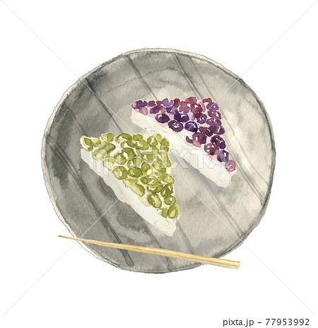 水彩画:和皿に初夏の京の和菓子「水無月」楊枝付き 小豆とうぐいす豆 白バック 77953992
