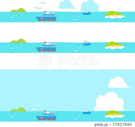 海と船のフッター、バナー素材 77957040