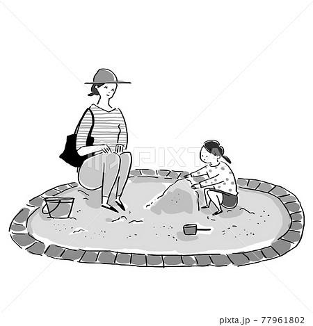 砂場で遊ぶ子供(帽子なし女の子)と見守る女性(お母さん、母親) 77961802