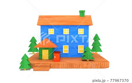 宅配ボックスがある家 , 3Dレンダリング 77967370
