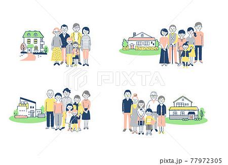 3世代家族と家 4組セット 77972305