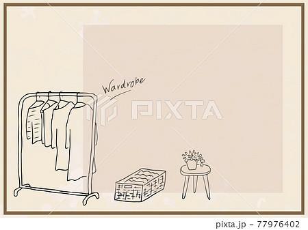 シンプルなインテリアのイラスト 洋服ラック 77976402