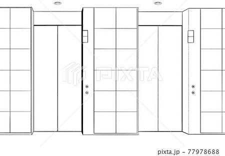 漫画風ペン画イラスト エレベーター 77978688