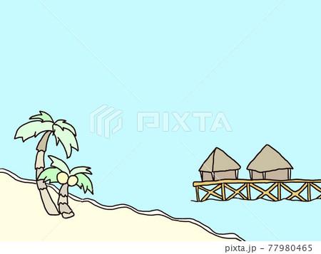 夏の海、ヤシの木とモルディブ風リゾート 77980465