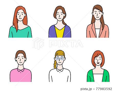 いろんな女性 上半身のイラストセット 77983592