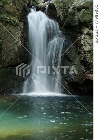浜松市夏の仙巌の滝エメラルドグリーンの滝壺 77989361