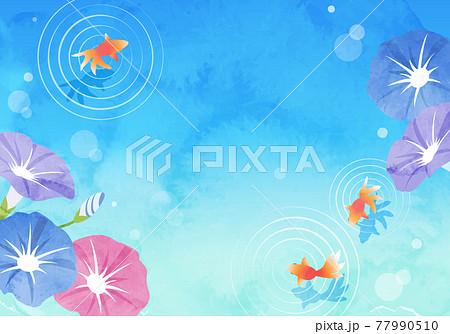 夏の朝顔と金魚の爽やかな水彩のベクターイラスト背景(フレーム) 77990510