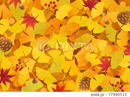 イチョウと紅葉と松ぼっくりなどの秋のベクターイラスト背景(落ち葉、どんぐり、絨毯) 77990513