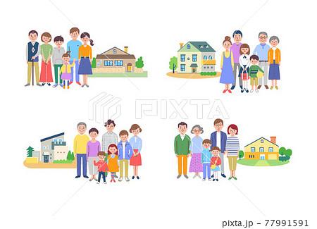 3世代家族と家 4組セット  77991591