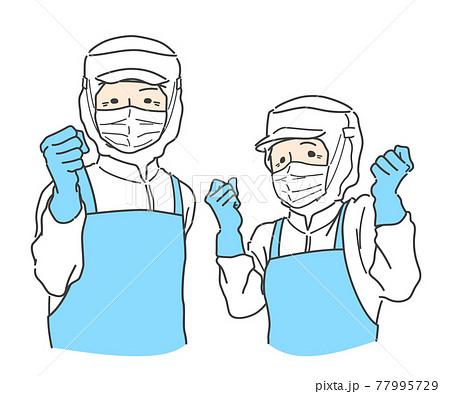 【フル装備】ガッツポーズする食品加工・工場で働くシニアスタッフ - 白・ホワイト 77995729