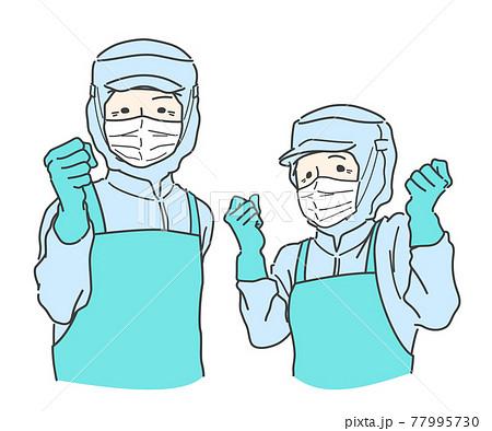 【フル装備】ガッツポーズする食品加工・工場で働くシニアスタッフ - 青・ブルー 77995730