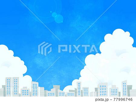 入道雲とビル群 77996746