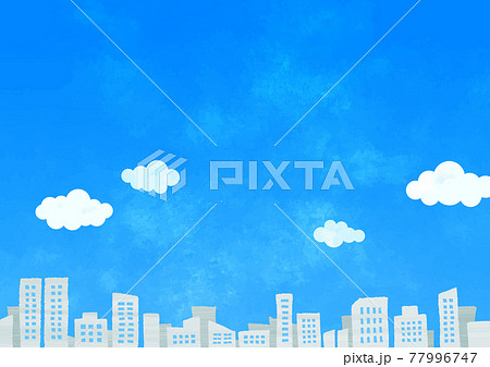 青空とビル群 77996747