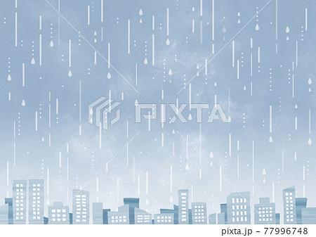 雨とビル群 77996748