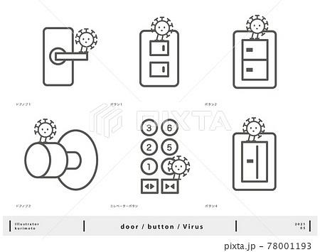 ウイルスが付着しやすい場所のイラスト 78001193