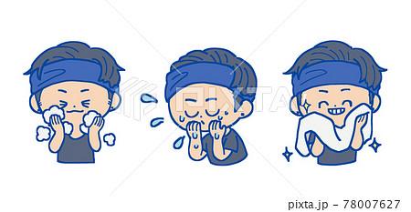 顔を洗う男性 黒髪 78007627