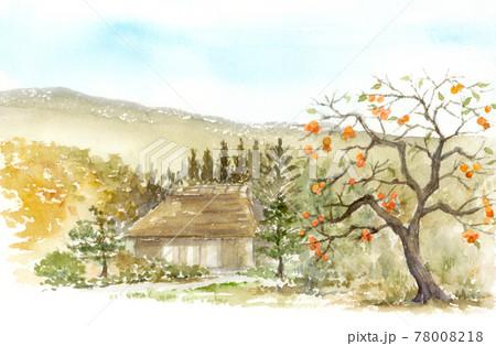柿の木と茅葺屋根の家の風景 78008218