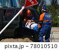 防災訓練で被災車両からの救助を行う警察官 78010510