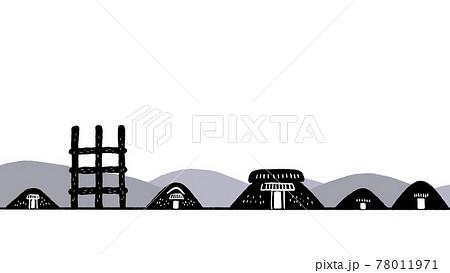 縄文遺跡のシルエットイラスト 78011971