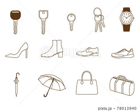 靴 鞄 傘 鍵 時計のアイコンセット 78013940