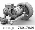 電気自動車用のモーター駆動のクレイレンダリングイメージ(カット図) 78017089