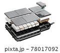 白バックに電気自動車用バッテリーパックの構造図。 78017092