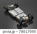 黒バックに2モータの4輪駆動電気自動車用のプラットフォーム構造のカットイメージ 78017095
