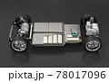 黒バックに2モータの4輪駆動電気自動車用のプラットフォーム構造のカットイメージ 78017096