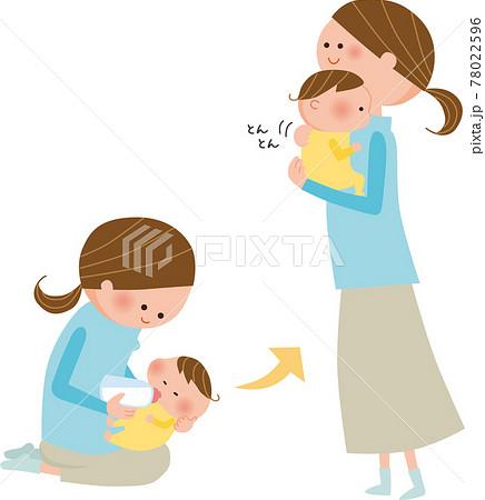 ママと赤ちゃん ミルク イラスト 78022596