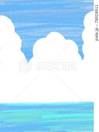 夏の空と海のイラスト背景 クレヨン風 78028911