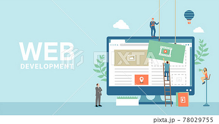 WEBデザイン・WEBサイト作成・システム開発 コンセプトベクター バナーイラスト 78029755