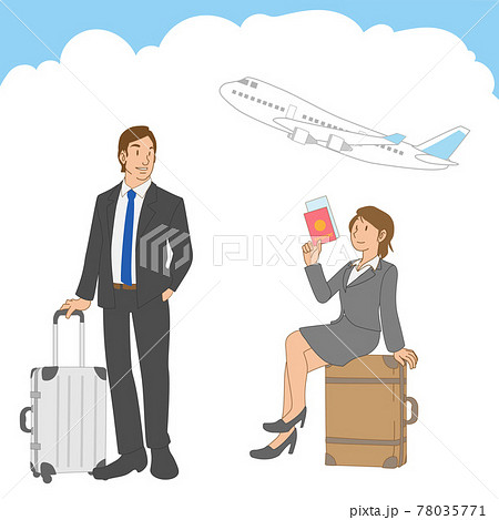 飛行機で出張に行く男女の日本人ビジネスパーソン 78035771