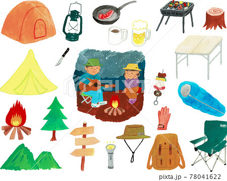 水彩画のキャンプアイコンセット 78041622