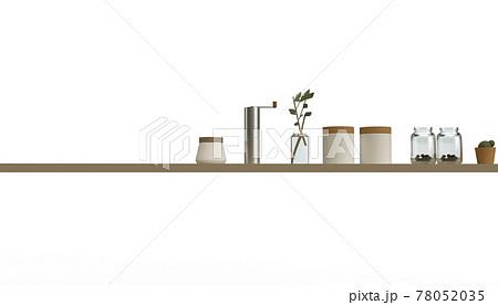 キッチン・ダイニング用品 棚の上に整列しているイメージカット 78052035