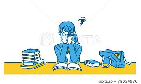 課題が多くて途方に暮れる女子学生 78054976