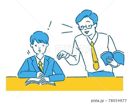 先生に教わって勉強する男子学生 78054977