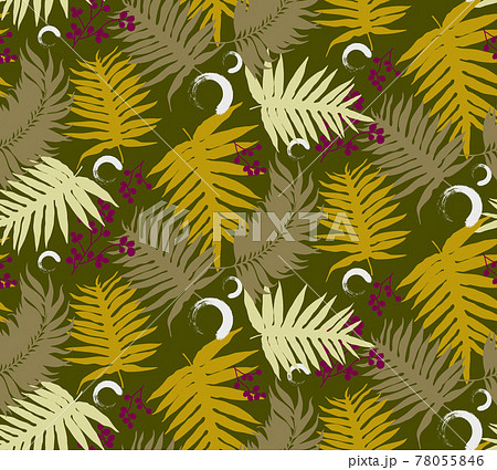 Seamless pattern with tropical leaf palm . Vector illustration. 78055846
