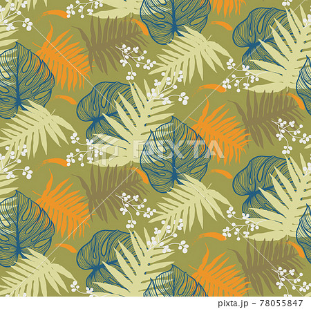Seamless pattern with tropical leaf palm . Vector illustration. 78055847