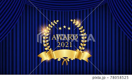 青い舞台の幕と金色の月桂樹とリボンのラベルのベクター背景イラスト 78058525