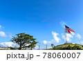 星条旗と日本の国旗が掲げられた晴天の日の画像 78060007